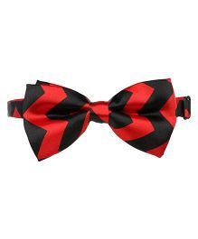 Baby Angel Zig Zig Print Bow Tie - Black & Red