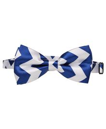 Baby Angel Zig Zig Print Bow Tie - Blue & White
