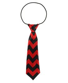 Baby Angel Zig Ziag Design Print Tie - Black & Red