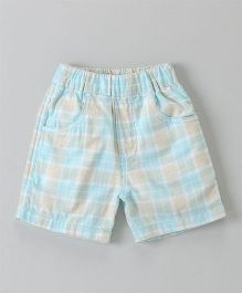 Jash Kids Checks Shorts - Sky Blue