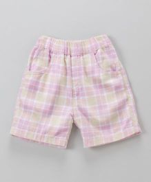 Jash Kids Checks Shorts - Light Pink