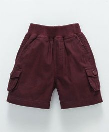 Jash Kids Solid Cargo Shorts With Pockets - Maroon