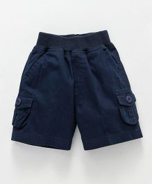 Jash Kids Solid Cargo Shorts With Pockets - Navy