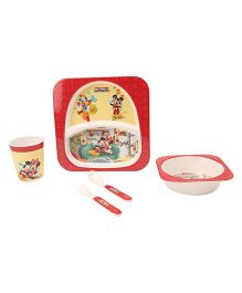 Disney Micky Mouse Club House Printed Feeding Set Pack of 5 - Red White