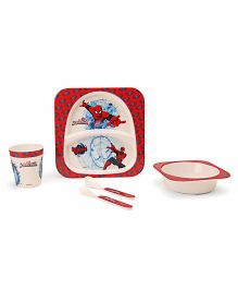 Marvel Spider Man Printed Feeding Set Pack of 5 - Red Off White