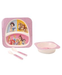 Disney Princess Printed Feeding Set Pack of 5 - Pink Off White
