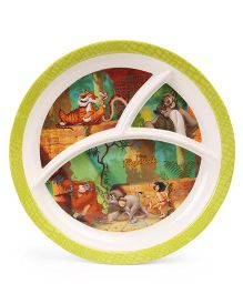 Disney Round Plate Jungle Book Print - Green Multi Colour