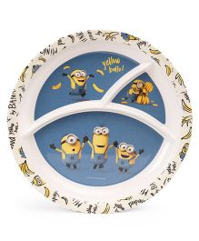 Minions Round Plate - Blue White