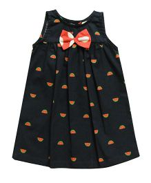 Snowflakes Frock With Watermelon Prints - Black