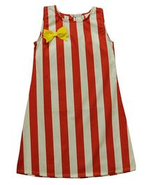 Snowflakes Striped Frock - White