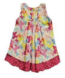 Snowflakes Frock With Pink Butterflies - Multicolor