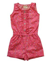 Snowflakes Romper With Heart Prints - Pink