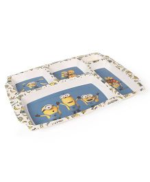 Minions Printed 5 Partition Plate - Blue White
