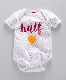 Hugsntugs Half Heart Dot Printed Onesie - White
