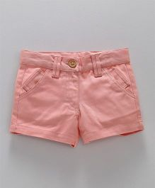 Hugsntugs Solid Shorts With Front Pockets - Pink