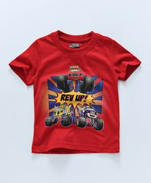 Eteenz Half Sleeves T-Shirt Vehicle Print - Red