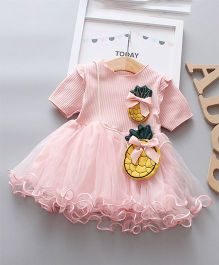 Pre Order - Wonderland Half Sleeves Pineapple Applique Tutu Dress - Pink