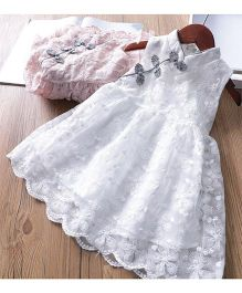 Pre Order - Awabox Cute Embroidered Frilly Dress - White