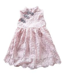 Pre Order - Awabox Cute Embroidered Frilly Dress - Pink