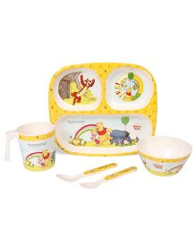 Disney Winnie The Pooh Printed Feeding Set Pack of 5 - Light Yellow