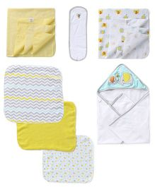 Owen Clothing Gift Set Elephant Embroidery Pack of 7 - White & Yellow
