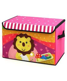 Home Union Storage Box Lion Print With Lid - Pink