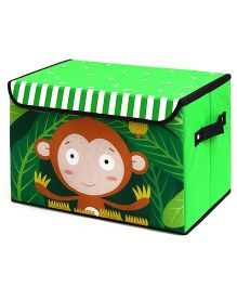 Home Union Storage Box Monkey Print With Lid - Green