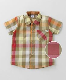 Wonderchild Checkered Shirt With Patch Pocket - Brown