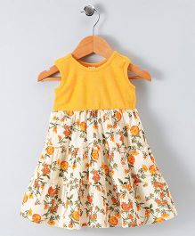Spring Bunny Floral Flare Print Dress - Yellow