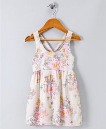 Spring Bunny All Over Floral Sleeveless Dress - White