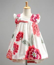 Spring Bunny Big Flowers Print Dress - White & Pink