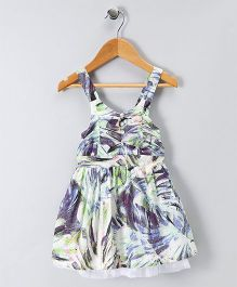 Spring Bunny All Over Leaves Print Dress - Multicolor