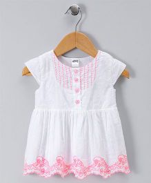 Spring Bunny Border Design Dress - White