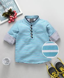 Rikidoos Full Sleeves Striped Chinese Collar Shirt - Sky Blue