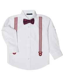 Mint & Cotton Suspender With Bow Shirt - Maroon