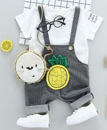 Pre Order - Wonderland Pineapple Applique Dungaree With Tee - White