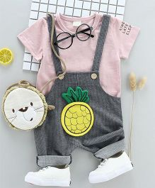 Pre Order - Wonderland Pineapple Applique Dungaree With Tee - Pink