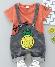 Pre Order - Wonderland Pineapple Applique Dungaree With Tee - Peach