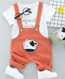 Pre Order - Wonderland Cow Face Applique Dungaree With Tee - Peach