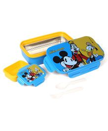 Disney Mickey Mouse & Friends Steel Lunch Box With Fork & Spoon - Blue & Yellow