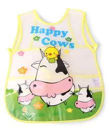 Alpaks Apron With Pocket Happy Cows Print - Yellow Green
