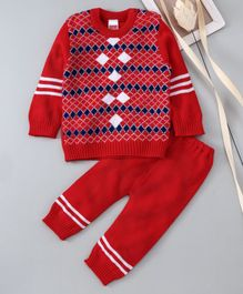 Babyhug Full Sleeves Sweater And Thermal Bottoms Geometric Design - Red