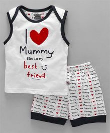 Mini Taurus Sleeveless T-Shirt & Shorts I Love Mummy Print - White Navy