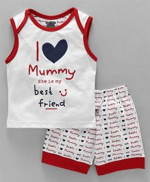 Mini Taurus Sleeveless T-Shirt & Shorts I Love Mummy Print - White Red