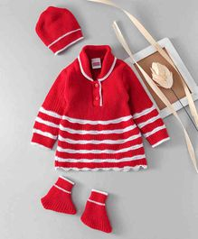Babyhug Full Sleeves Stripe Sweater And Booties With Cap - Red