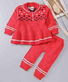 Babyhug Full Sleeves Sweater & Bottom Set Polka Dot Design -  Pink
