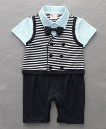 Petite Kids Striped Waistcoat Style Romper With Bow Tie - Turquiose & Grey