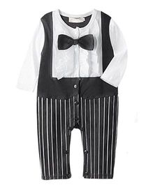 Petite Kids Striped Suit Style Romper With Bow Tie - Black & White