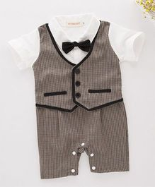 Petite Kids Check Waistcoat Style Romper With Bow Tie - Beige