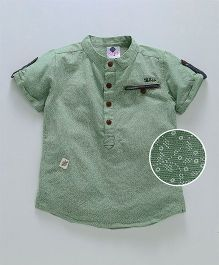 Tonyboy Mini Floral Self Print Shirt With Welt Pocket - Green